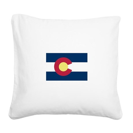 I Love Colorado Square Canvas Pillow