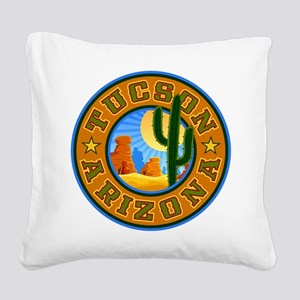 Tucson Desert Circle Square Canvas Pillow