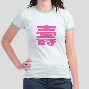 Shou Chinese Longevity Symbol Jr. Ringer T-Shirt