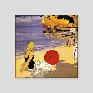 "Vintage Beach Square Sticker 3"" x 3"""