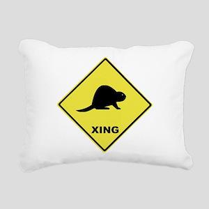 Beaver Crossing Rectangular Canvas Pillow