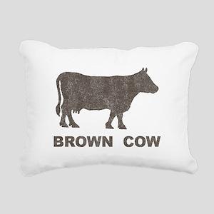Vintage Brown Cow Rectangular Canvas Pillow