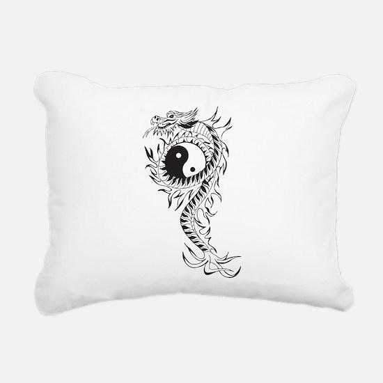 Yin Yang Dragon Rectangular Canvas Pillow