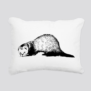 Hand Sketched Ferret Rectangular Canvas Pillow