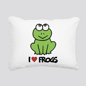 I Love Frogs Rectangular Canvas Pillow
