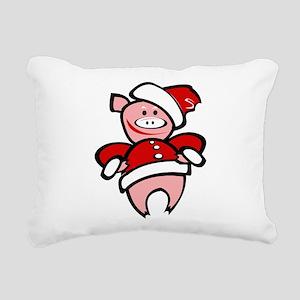 Christmas Pig Rectangular Canvas Pillow