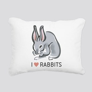 I Love Rabbits Rectangular Canvas Pillow