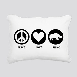 Peace Love Rhino Rectangular Canvas Pillow