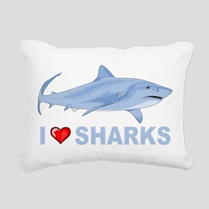 I Love Sharks Rectangular Canvas Pillow