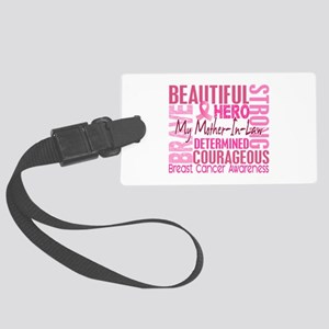 Tribute Square Breast Cancer Large Luggage Tag