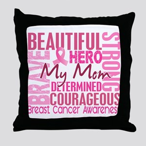Tribute Square Breast Cancer Throw Pillow