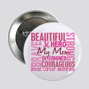 "Tribute Square Breast Cancer 2.25"" Button"
