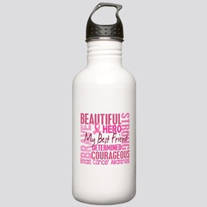 Tribute Square Breast Cancer Stainless Water Bottl