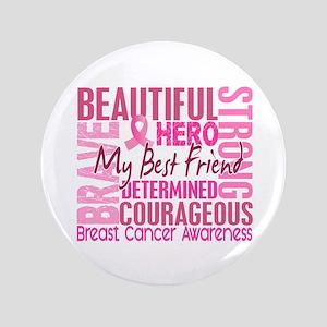 """Tribute Square Breast Cancer 3.5"""" Button"""
