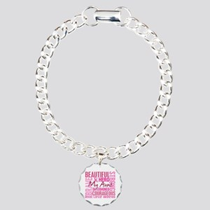 Tribute Square Breast Cancer Charm Bracelet, One C
