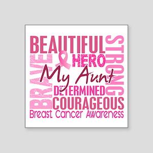 """Tribute Square Breast Cancer Square Sticker 3"""" x 3"""