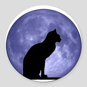 Black Cat, Blue Moon Round Car Magnet