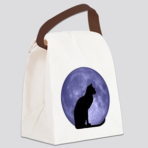 Black Cat, Blue Moon Canvas Lunch Bag