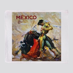 Vintage Bullfighting Throw Blanket