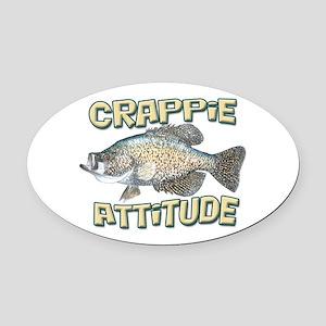 Crappie Attitude Oval Car Magnet