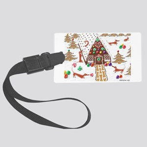 Gingerbread Dachshunds Large Luggage Tag