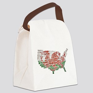 Welsh Place Names USA Map Canvas Lunch Bag