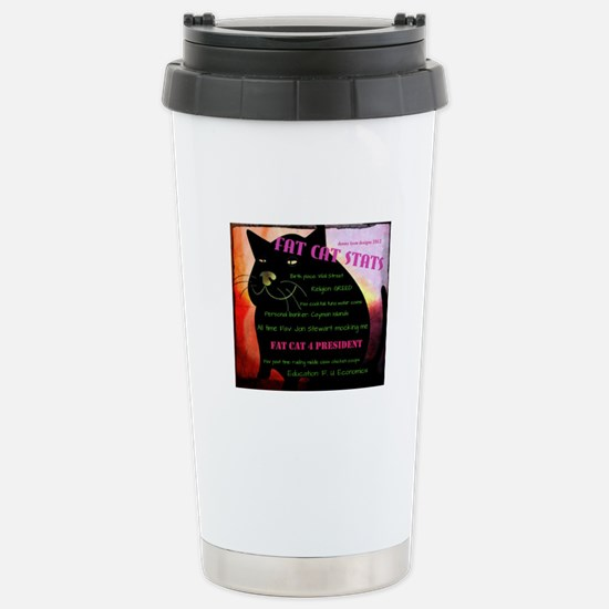 Fat Cat Stats Stainless Steel Travel Mug