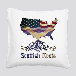 American Scottish Roots Square Canvas Pillow