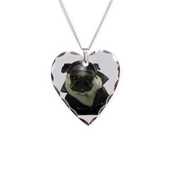 BikerPug Necklace Heart Charm