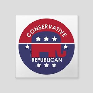 """Conservative Republican (XL) Square Sticker 3"""" x 3"""