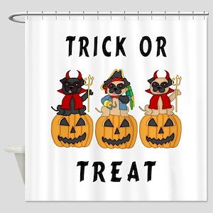 Halloween Trick or Treat Pugs Shower Curtain