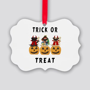 Halloween Trick or Treat Pugs Picture Ornament