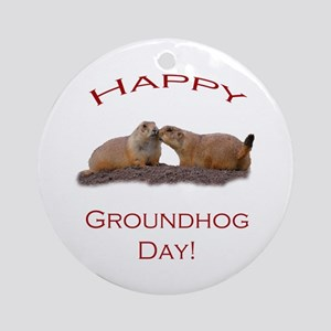 Groundhog Day Kiss Ornament (Round)