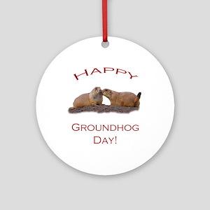 Groundhog Day Kiss Ornament (Round)