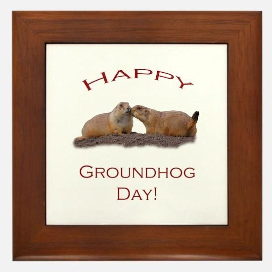 Groundhog Day Kiss Framed Tile