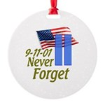 Never Forget 9-11 - With Buildings Round Ornament