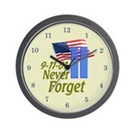 Never Forget 9-11 - With Buildings Wall Clock