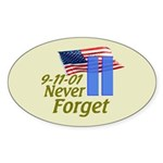 Never Forget 9-11 - With Buildings Sticker (Oval 5