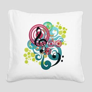 Music Swirl Square Canvas Pillow