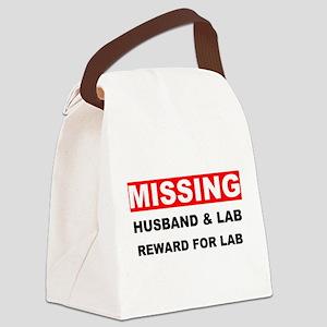Missing Husband Lab Canvas Lunch Bag