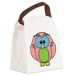 Pink Dotty Owl Canvas Lunch Bag