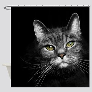 Gray Tabby Cat Shower Curtain