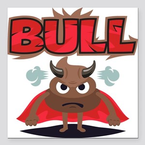 "Emoji Bull Shit Square Car Magnet 3"" x 3"""