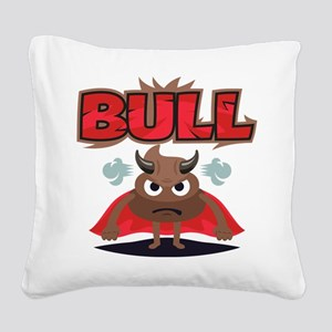 Emoji Bull Shit Square Canvas Pillow