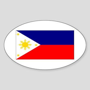 Filipino Pilipinas Blank Flag Oval Sticker
