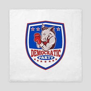 Democrat Donkey Mascot Boxer Shield Queen Duvet