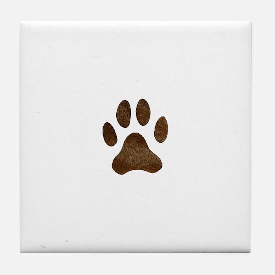 fur paw print Tile Coaster