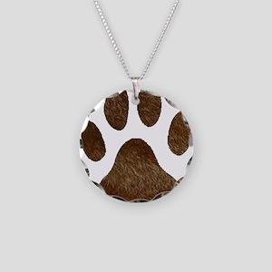 fur paw print Necklace Circle Charm