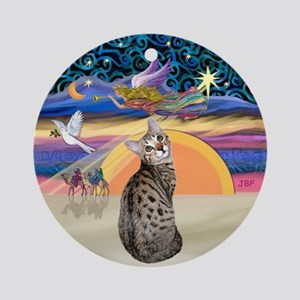 Christmas Angel-Bengal Cat Ornament (Round)