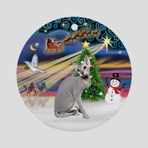 XmasMagic - Peterbald cat Ornament (Round)